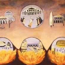 Nero set Rome on fire100x150 cm