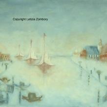 C'era una volta una nebbiosa mattina a Venezia olio su tela 70x100