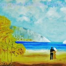 Réunion d'automne olio su tela 80x120 cm