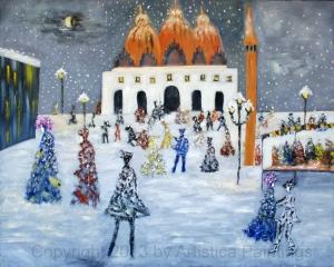 La Piazza San Marco di neve durante il Carnevale