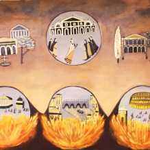 Nero set Rome on fire olio su tela 100x150 cm