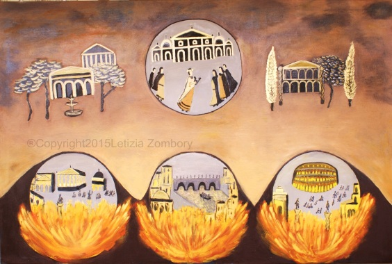 Nero set Rome on fire oil on canvas 100x150 cm