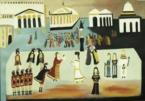 Il bambino di CESARE e CLEOPATRA a Roma  olio su tela 70x100