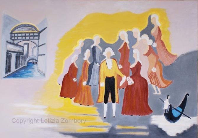 CASANOVA  e le donne olio su tela 70x100 cm