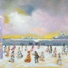 L'inverno surreale a Venezia olio su tela 60x80 cm
